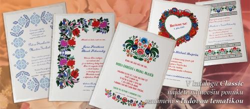 Ľudová tematika na svadobných oznámeniach